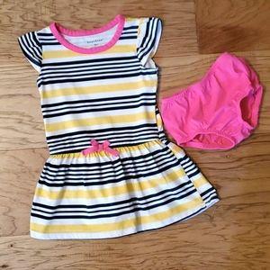 3/$15 Striped Dress Yellow Pink Navy Blue Summer